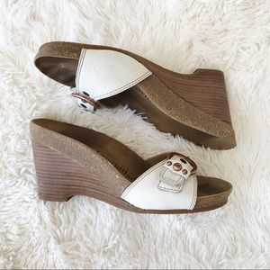 CAT white leather wedge sandals